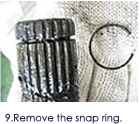 9.Remove the snap ring.